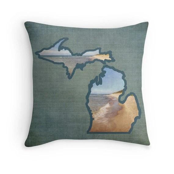 Lake Michigan Photo Pillow Cover Holland MI Beach Throw