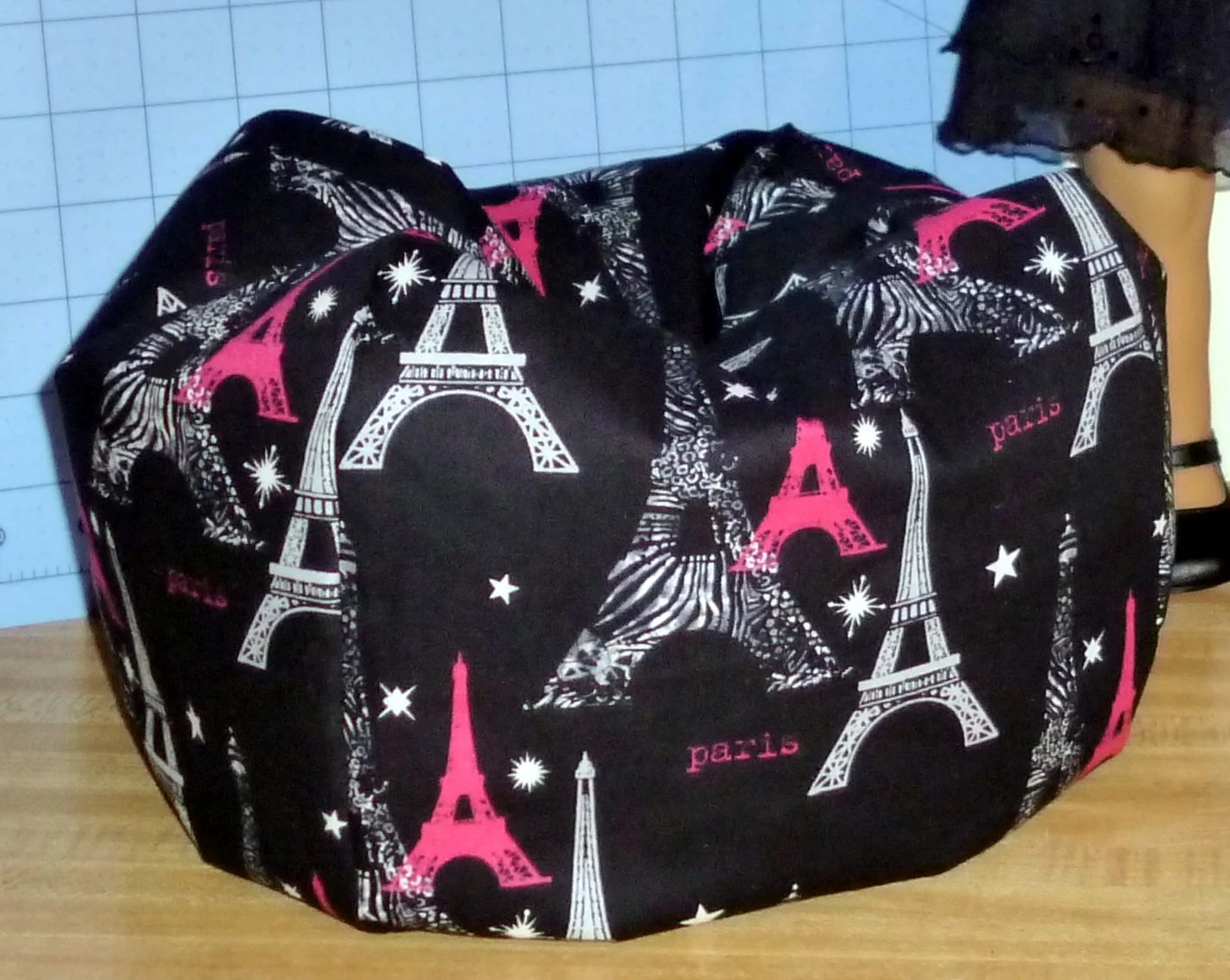 girls bean bag chairs french for sale american girl doll size chair in cotton paris eiffel