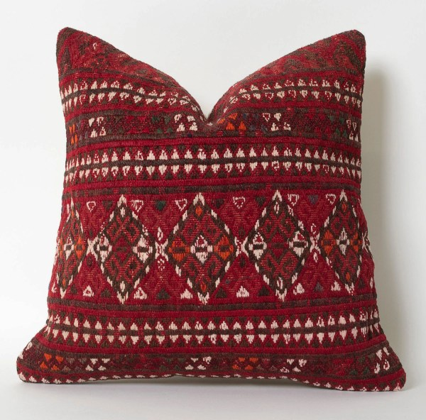 Red Kilim Pillow Turkish Covers Modern Throw