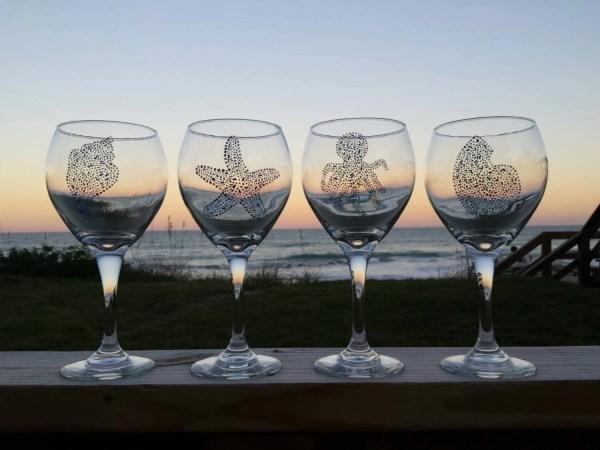 Hand Painted Beach Wine Glasses