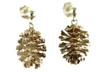 Tiny Sterling Silver Pine Cone Earrings