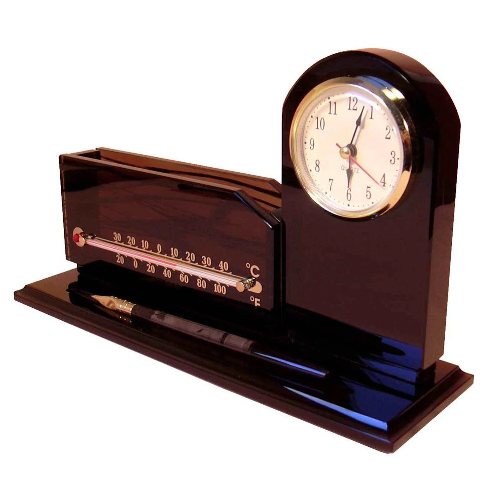 Small desk organizer with clock and thermometer made to