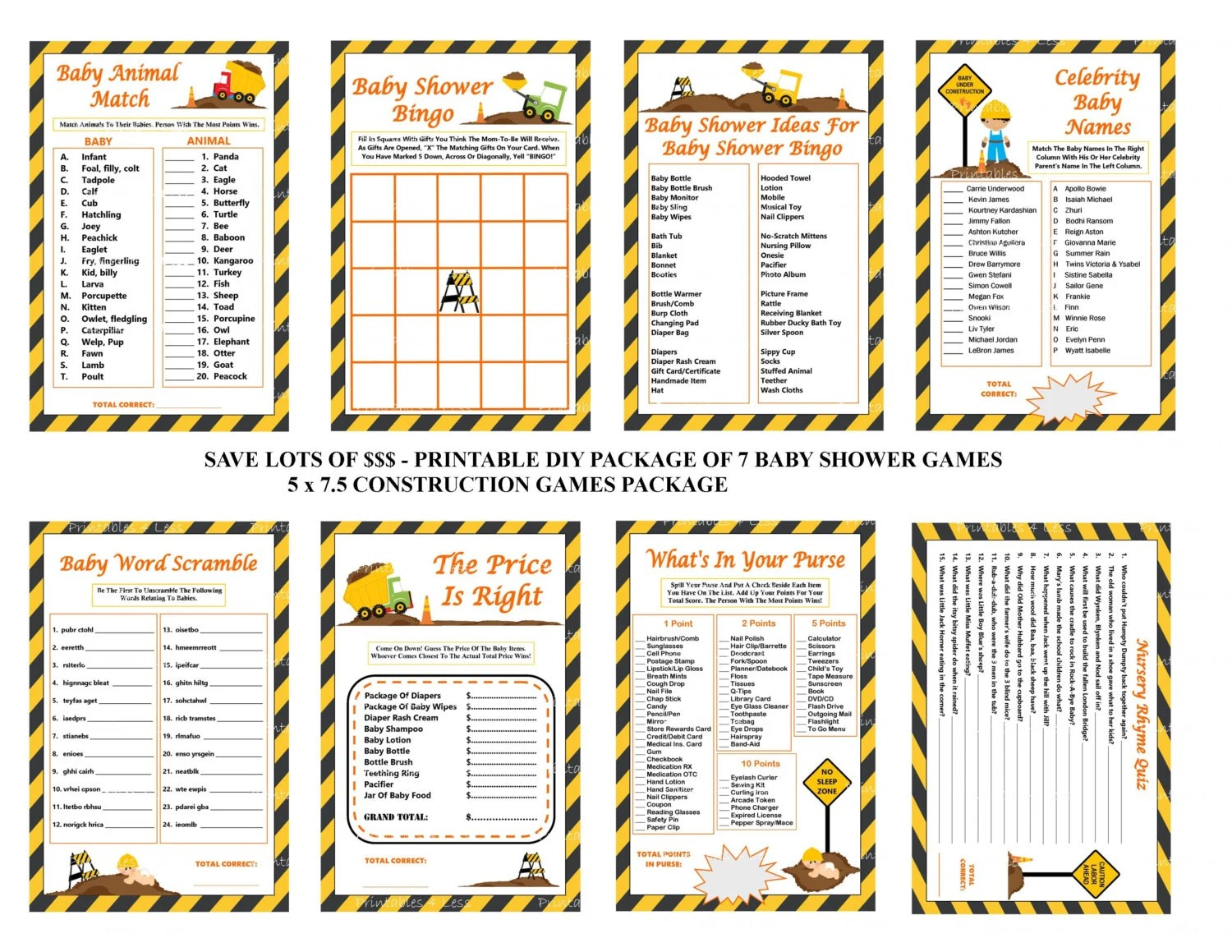 Construction Baby Shower Game Construction By Printables4less