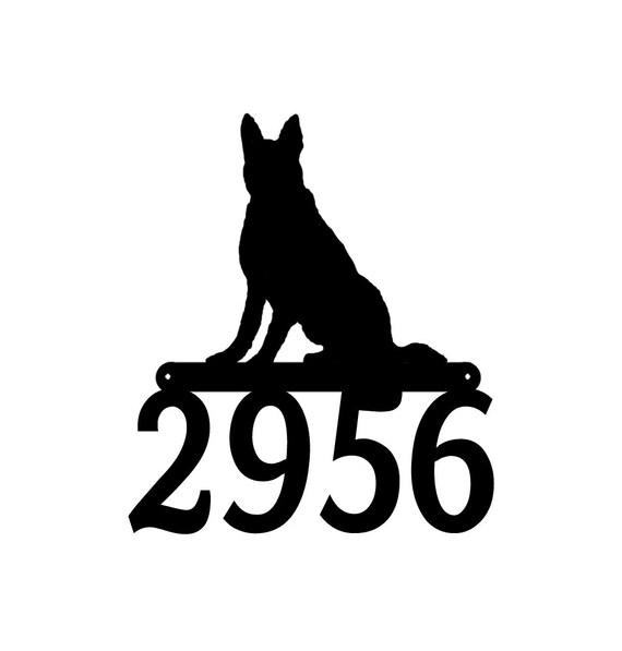 German Shepherd Dog Metal Address Sign Metal House Number Sign