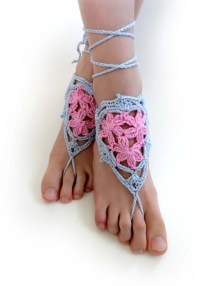 Flower Barefoot Sandals. 28 Colors. Crochet Foot Jewelry