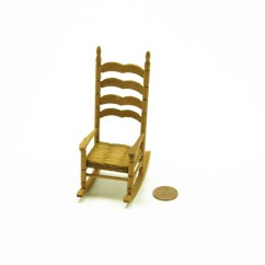 Mini Rocking Chair Unusual Office Vintage Miniature Dollhouse Wood Weave Seat