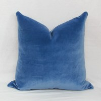 Iris blue velvet decorative throw pillow cover. 18 x 18.