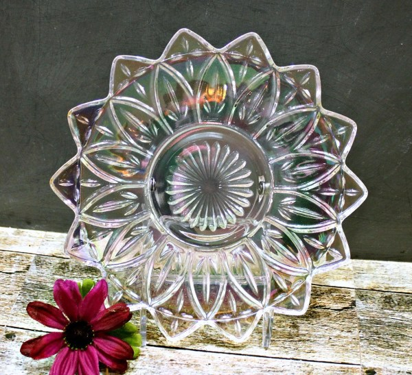 Carnival Glass Plate Iridescent Flower Pressed