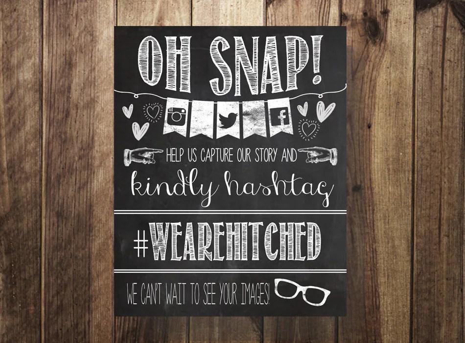 Hashtag Sign Instagram Facebook Twitter Printable Wedding