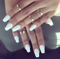 Coffin nails false nails press on nails white nails pink