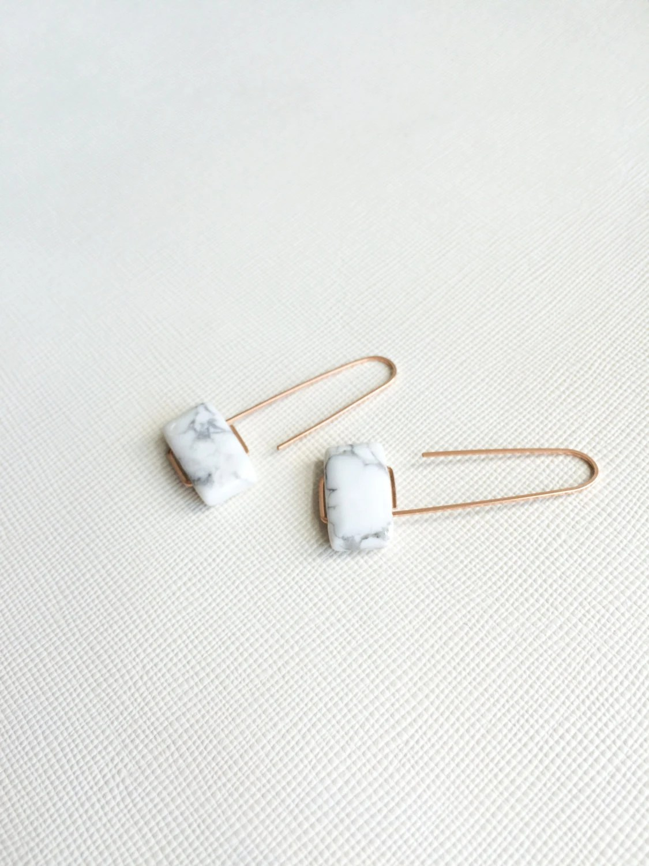 Marcel Earrings White Marble Howlite By Morningritualjewelry
