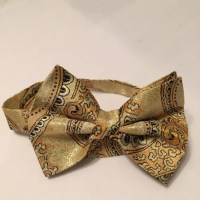 Black and gold paisly bow tie.