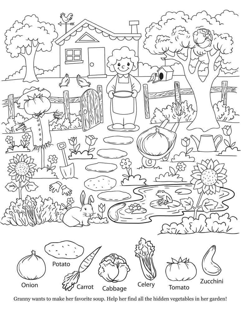 Kids Coloring Page Hidden Object Printable by HoneybunchStudio