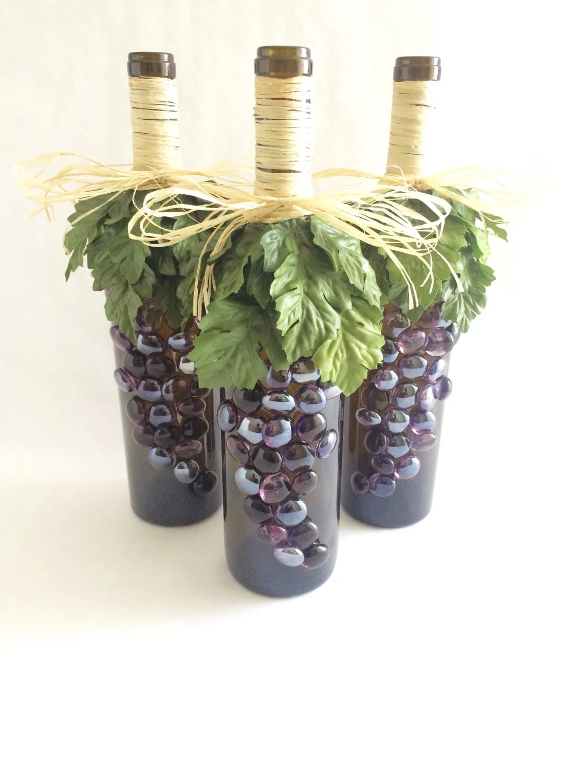Wine decoration Set of 3 wine bottles with artificial grapes