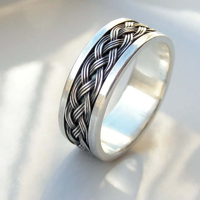 Wide Celtic Sterling Silver Mens Wedding Band