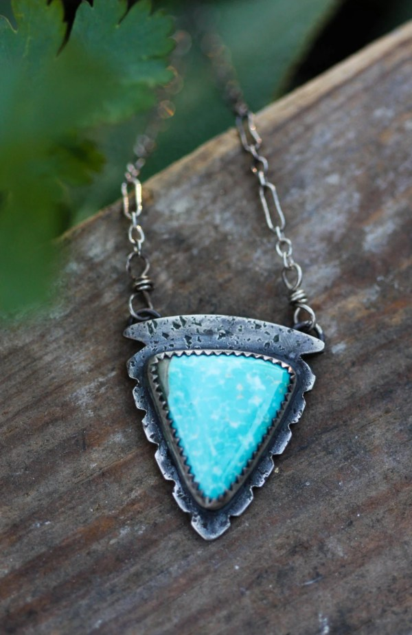 Natural Turquoise Necklace. Handmade Arrowhead
