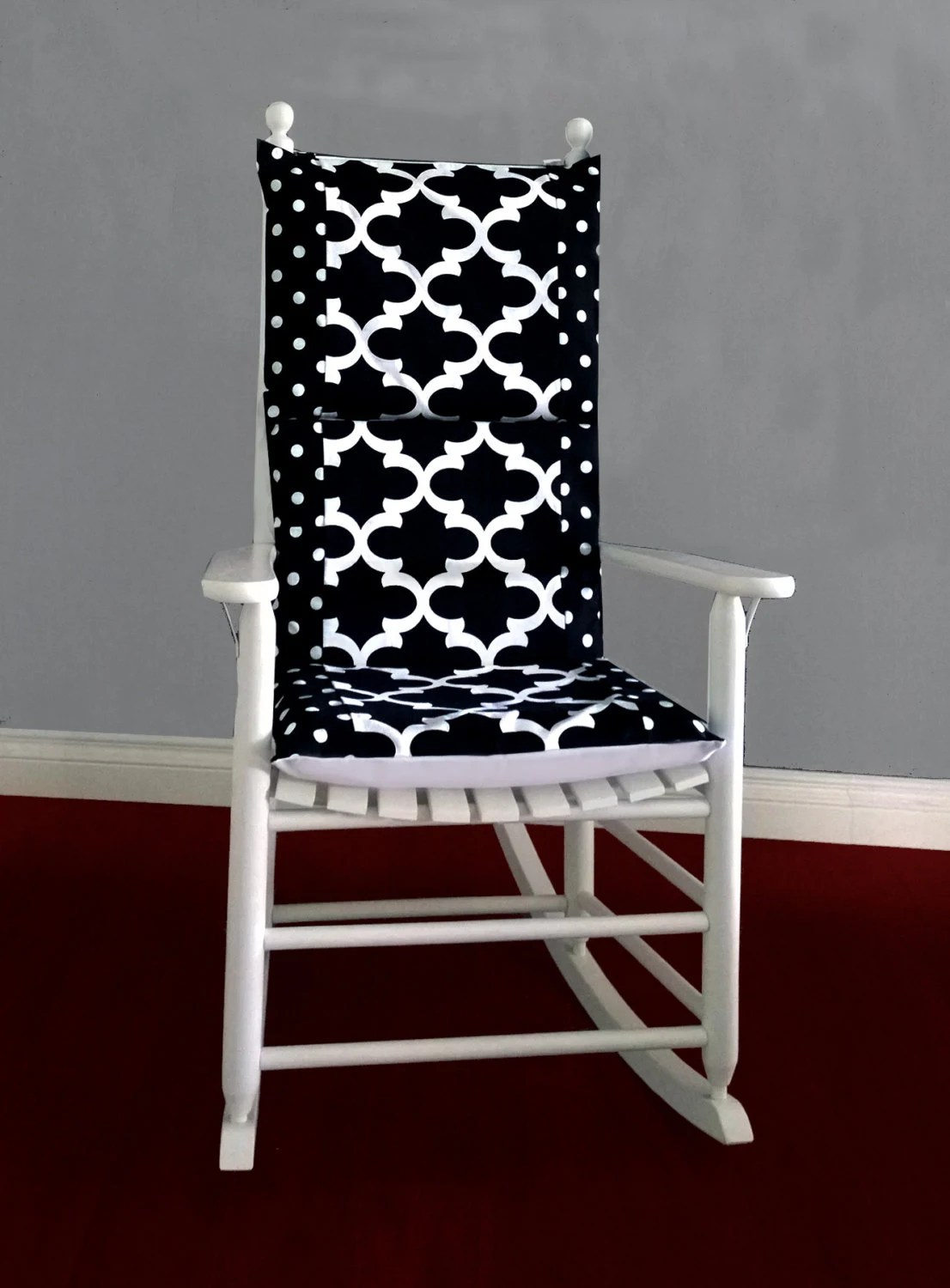 polka dot rocking chair cushions lift chairs for elderly medicare cushion black fynn white by rockincushions