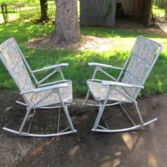 Aluminum Webbed Lawn Chairs Wedding Chair Covers Hampshire Pair Of Vintage Tubing Rocking Patio