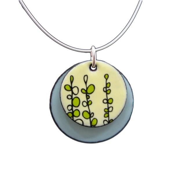 Sweet Pea Necklace Lemon Yellow And Aqua Blue Enamel Pendant