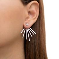 Ear jacket earrings PAIR of solid sterling silver by ...
