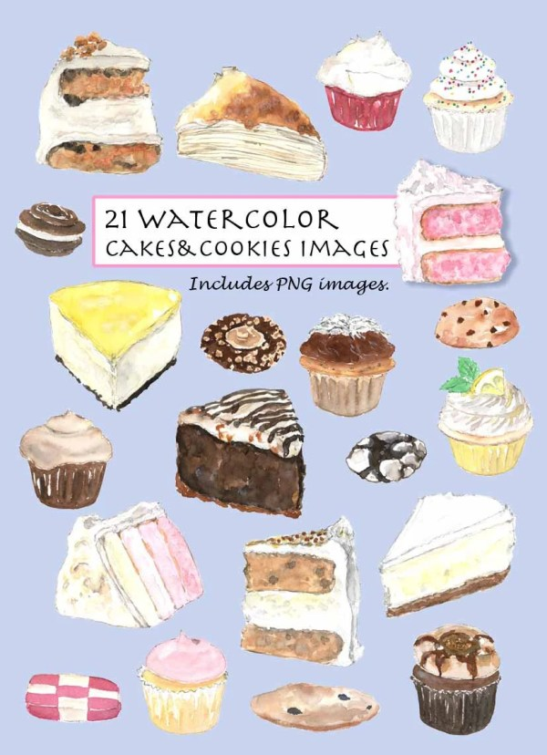clip art watercolor cakes & cookies