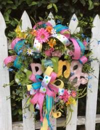 Spring Wreath Front Door Wreath Ribbon Wreath by Keleas on ...