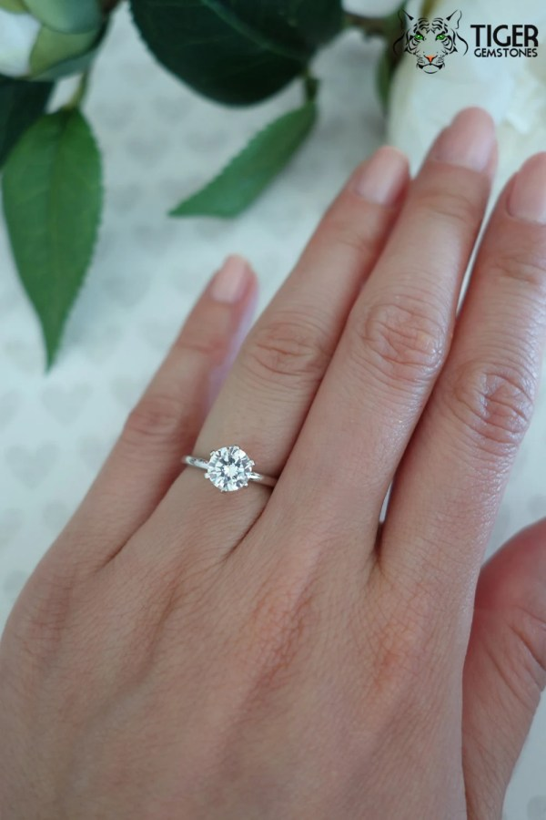 Size 5 14k White Gold 1 Carat 6 Prong Round by TigerGemstones