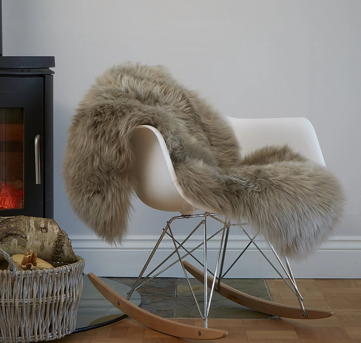 sheepskin rug on chair task office depot stunning soft taupe coloured cover bed