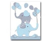 Blue elephant nursery wall art baby boy nursery by ...