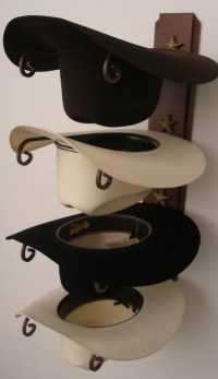 Cowboy Hat Holder Rust with Gold Stars by GreatAmericanDecor