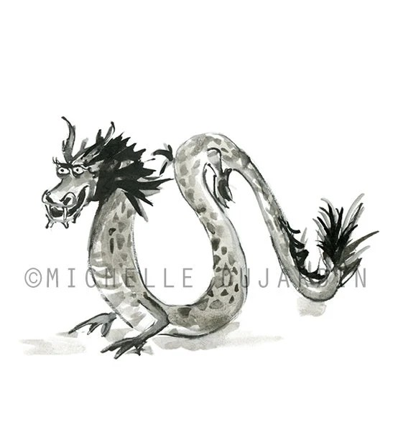 Chinese Dragon Painting Original art Dragon art ink
