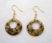 Wooden earrings Painted Wood hoop Earrings hand painted in