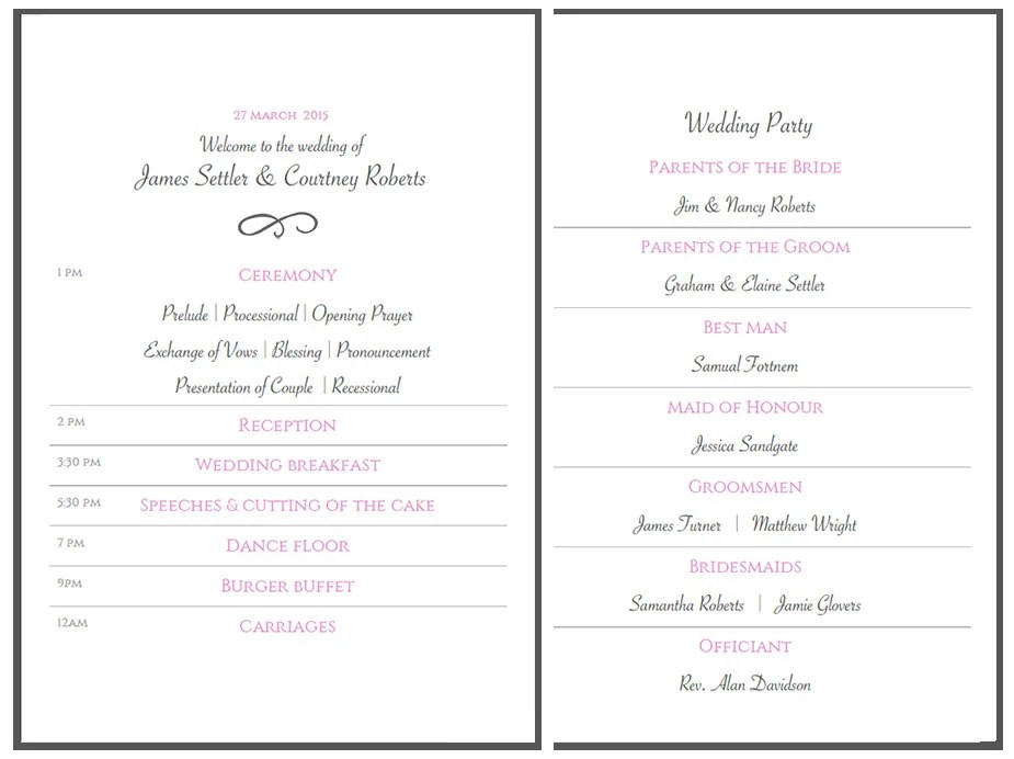 Items similar to Printable A5 Order of the Day / Wedding