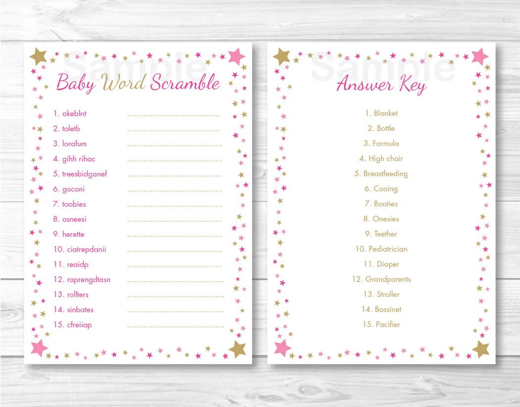Twinkle Star Baby Word Scramble Twinkle Star Baby Shower