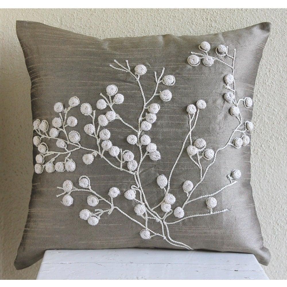 Luxury Grey Decorative Pillows Cover 16x16 Silk