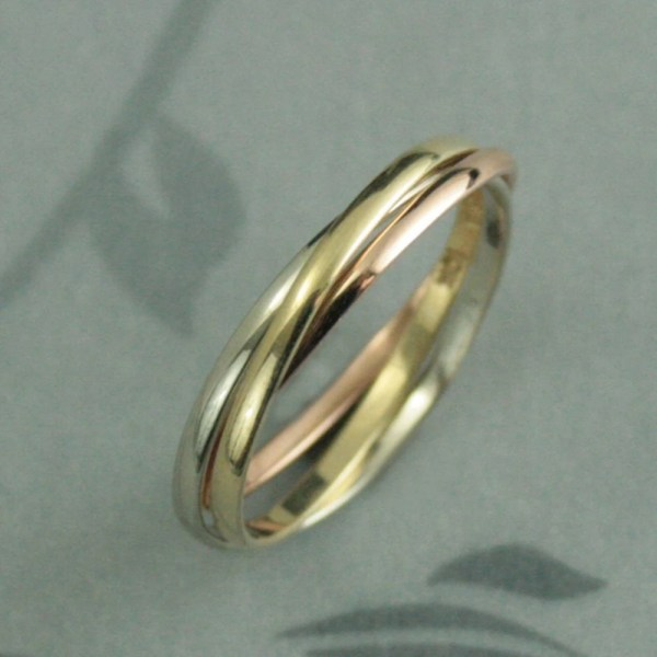 Tricolor Rolling Ring10k Gold Interlocking Ringsrussian