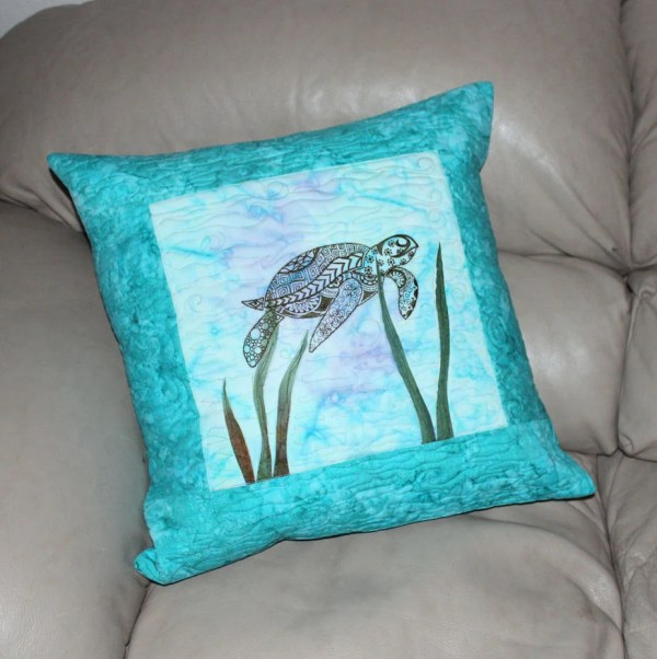 Sea Turtle Quilted Throw Pillow Machine Embroidered