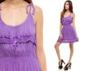 Cotton Sun Dress 70s Mini Crochet Gauze Purple Hippie Boho