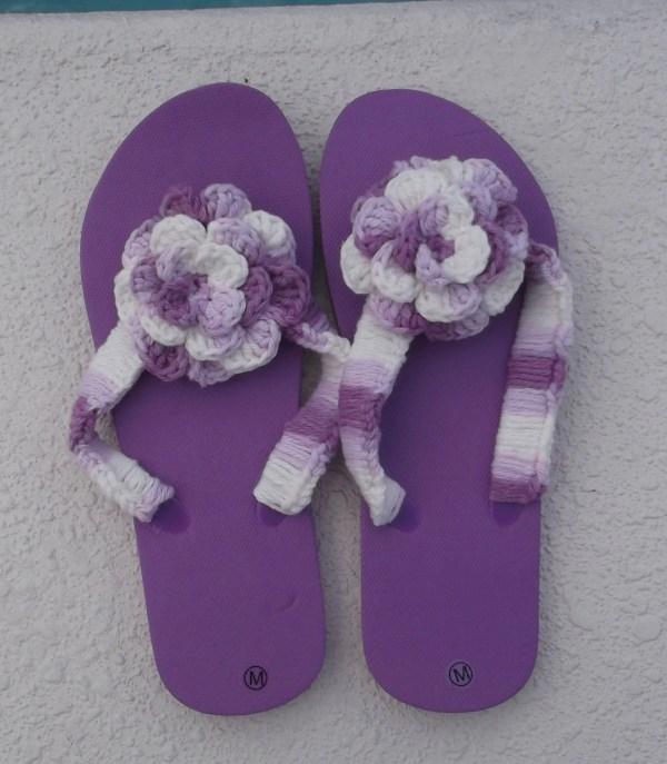 Flip Flops Purple Flower Flips Womens