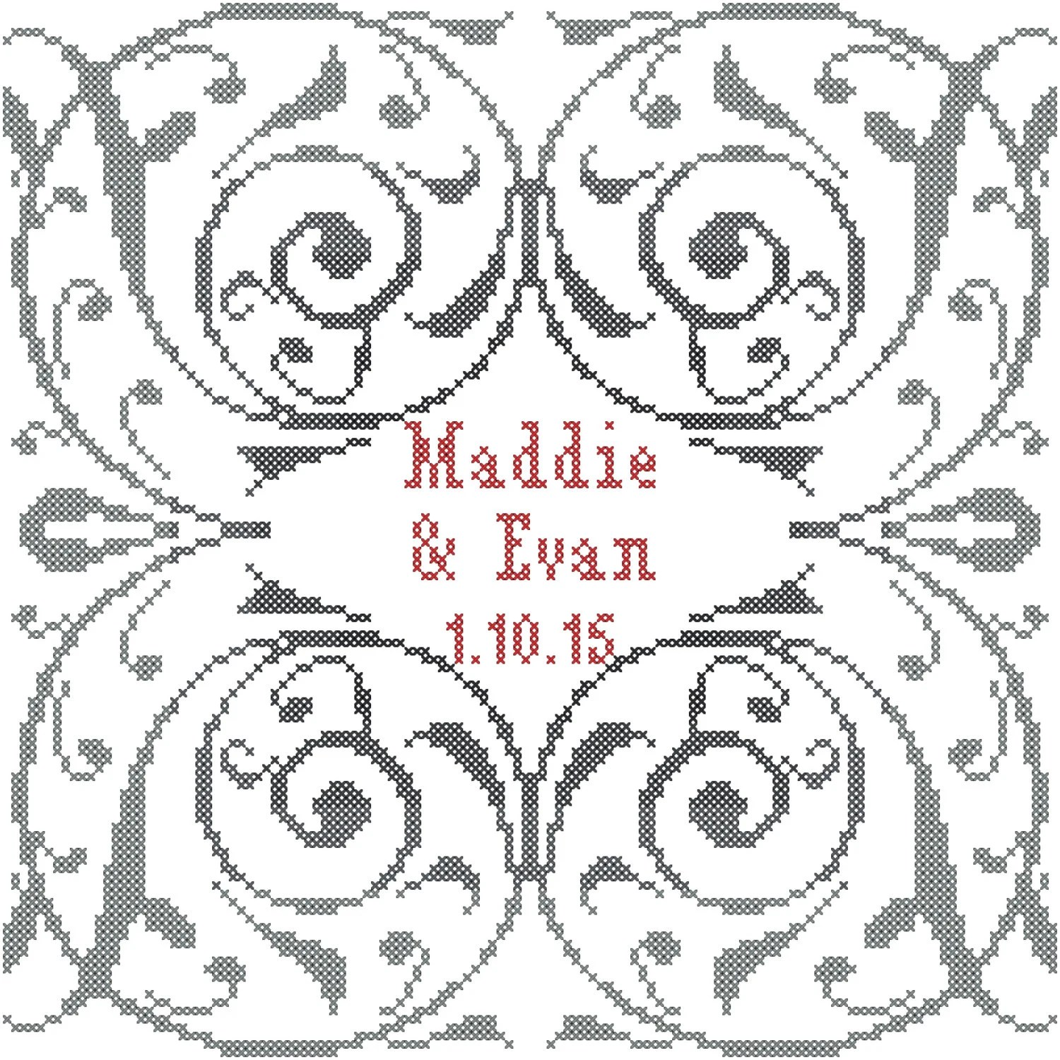Modern Wedding Sampler Cross Stitch Pattern