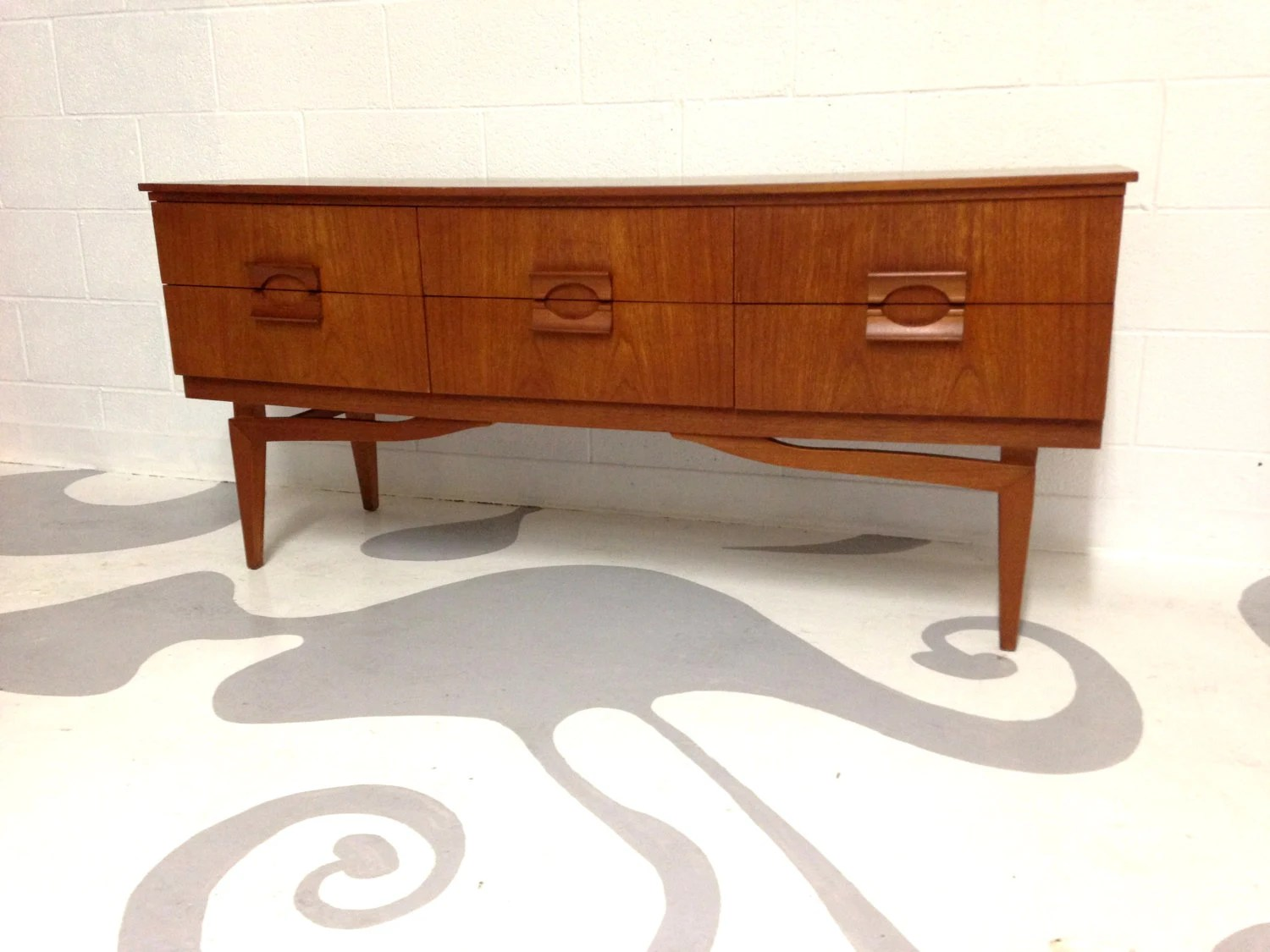 Mid Century Modern Dresser Buffet Credenza Cobinet In Teak With Six . Full resolution  portrait, nominally Width 1500 Height 1125 pixels, portrait with #4B180A.