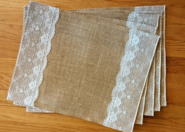 Burlap And Lace Placemats Set Of 6