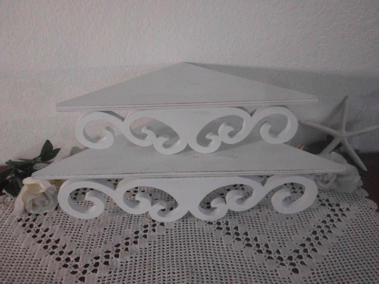 White Shabby Chic Ornate Corner Shelf Set Rustic Distressed