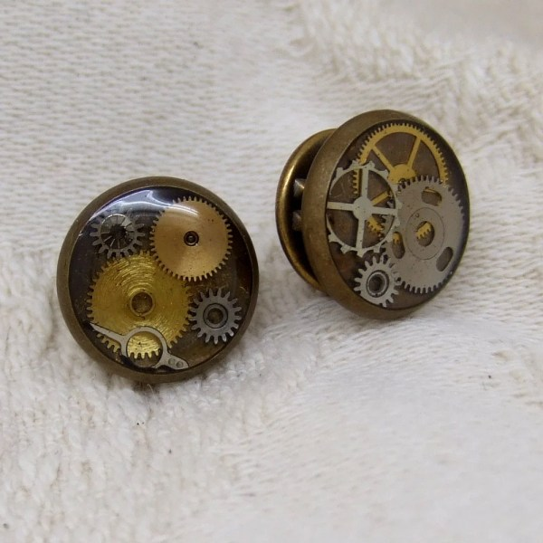 Items similar to Steampunk Tie Tack in Antique Brass with