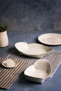 White ceramic plate set for oven Ceramic Serving platters