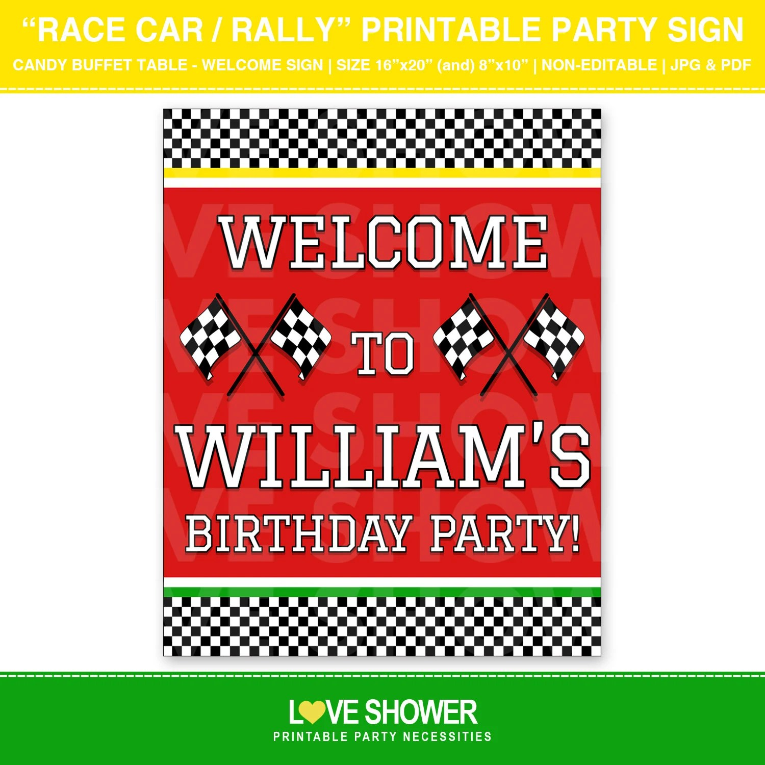 Race Car Printable Party Sign Personalized Digital