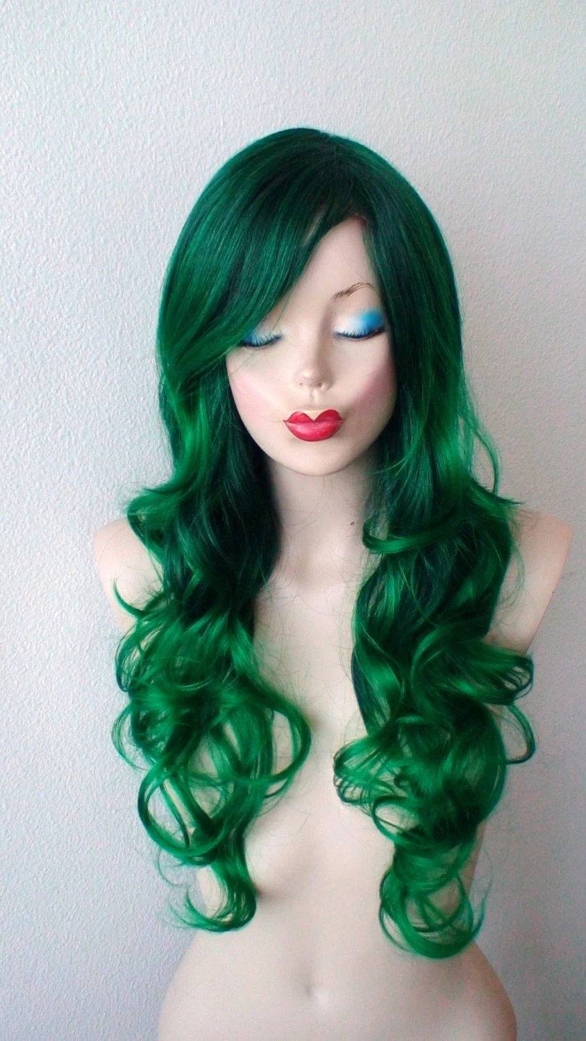 Irish Green Ombre wig Green color Long Curly by kekeshop on Etsy