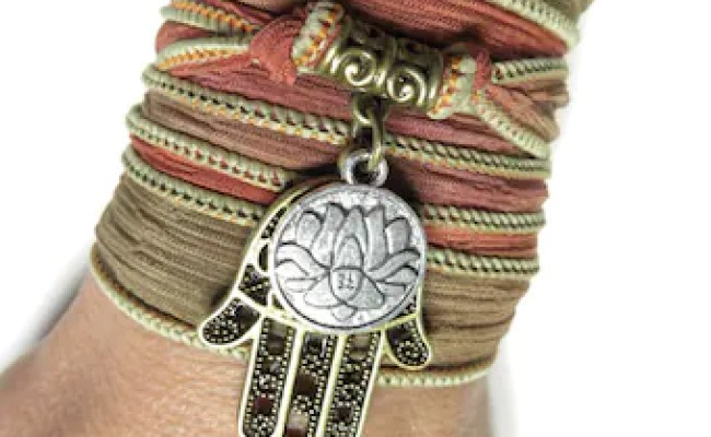 Namaste Lotus Yoga Jewelry Silk Wrap Bracelet Hamsa Buddhist