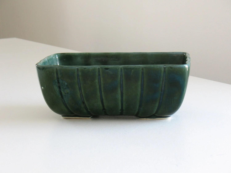 Vintage Hull green pottery planter  ceramic rectangular cache