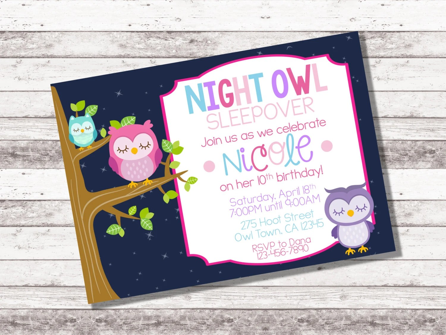 Girl S Night Owl Birthday Invitation Sleepover Birthday